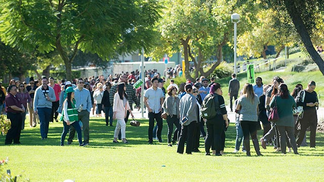 Campus wide evacuation during the 2018 Great California ShakeOut.