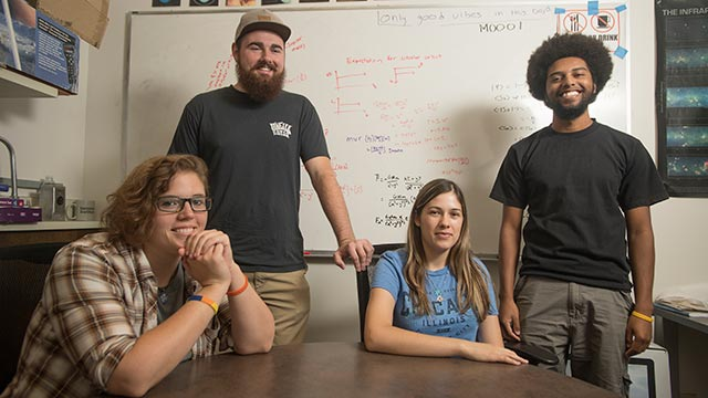 Cal Poly Pomona Cal-Bridge Scholars Chelsea Adelman, Bo Shrewsbury, Sierra Garza and Evan Nunez at the Astronomy Lab at the College of Science.
