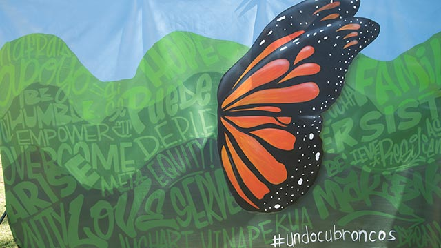 The Dreamers Resource Center mural was created by artists Mirian Estrella and Thomas Louis Dwyer-Gutierrez.