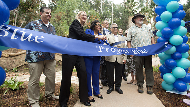 The Ribbon cutting ceremony for Project Blue behind Building 1.