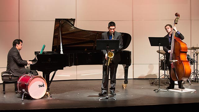 Michael Webb on piano, Adres Meza on saxophone andJacob Cook on bass perform The Days of Wine and Roses.
