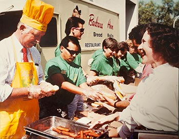 La Bounty serves hot dogs to students, staff and faculty at the 1988 Hot Dog Caper.