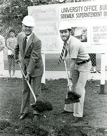 President Hugh O. La Bounty (left) breaks ground on Building 94.