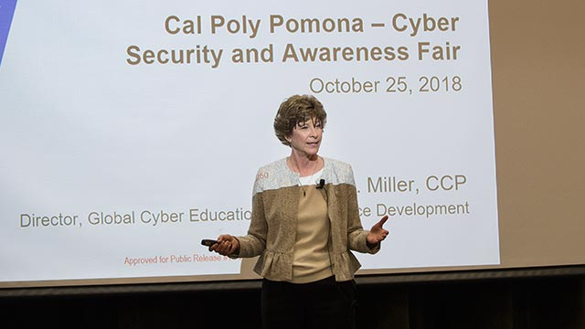 Diane Miller speaks at the 2018 Cyber Security and Awareness Fair.