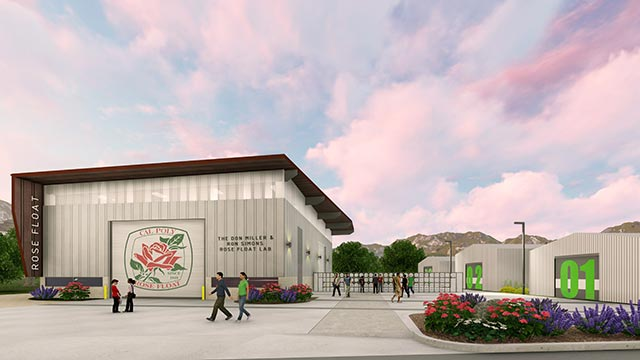 A rendering of The Don Miller and Ron Simons Rose Float Lab and Legacy Fence. The Rose Float Lab is planned to be completed in early 2020.