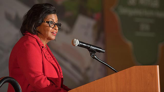 President Soraya M. Coley speaks to the campus community.