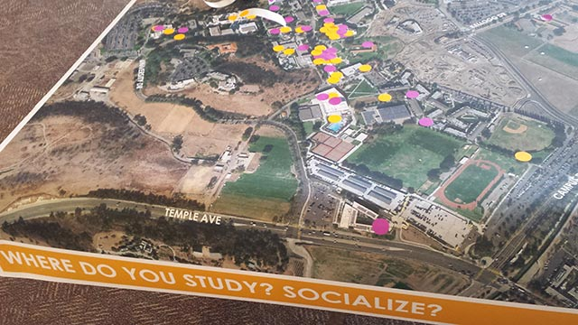 In addition to marking places on campus maps where more seating is needed, students also used colored dots to show where they study and socialize.