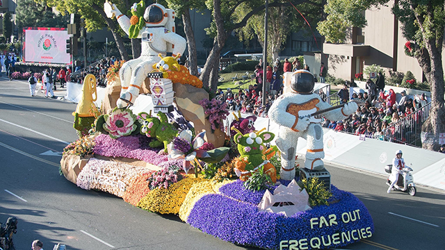 The Cal Poly Universities Rose Float has won The Extraordinaire Award, honoring the most extraordinary float.