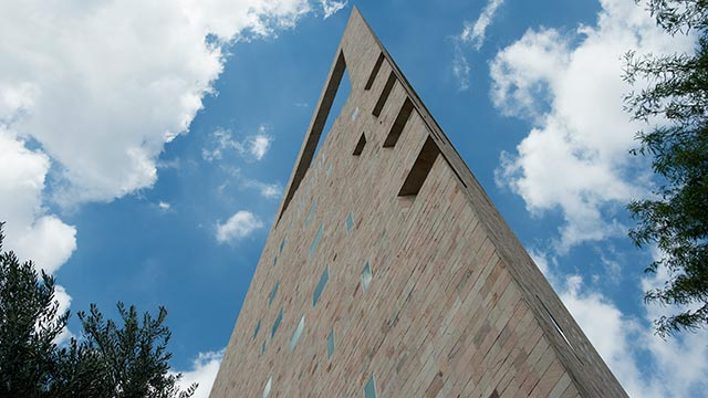 The distinctive tower of the CLA facility opened in 1993 as the administrative hub of the campus.
