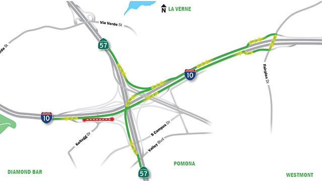 Map of the northbound and southbound connector lane closures to the 57 Freeway from the eastbound 10 Freeway.
