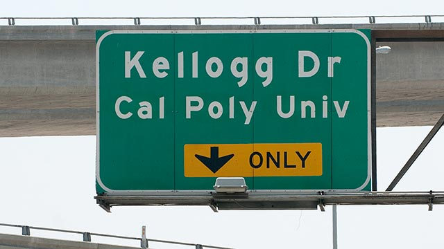 A Kellogg Drive sign on the 10 freeway.