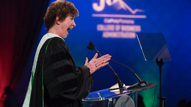 Cal Poly Pomona alumna Diane Miller celebrates receiving an honorary doctorate from CPP at the College of Business Administration 50th anniversary celebration.