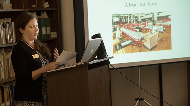 Alexis Adkins explains the history of Cal Poly Pomona during a talk at the University Library.