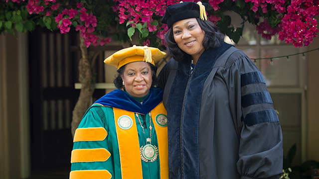 Joan Robinson-Berry with President Soraya Coley before the College of Engineering commencement.