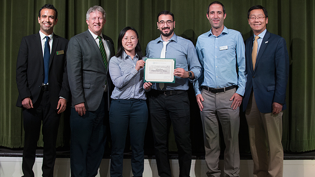 The DROWT team receiving their first place certificate at the 2019 Project Showcase. From left to right: Mechanical Engineering Assistant Professor Reza B. Lakeh, Engineering Dean Joseph J. Rencis, student presenters Justine L. Nguyen and John Kest, Civil Engineering Assistant Professor Ali Sharbat, and Engineering Associate Dean M. Ronald Yeung.