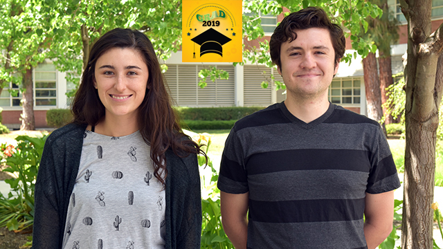 The College of Science McPhee Scholars and valedictorians Taylor Edwards and David Hughes.