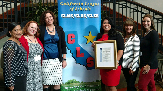 Alumna Adriana Gonzalez, principal of De Anza Middle School, received the 2018 Schools to Watch Award from the California Department of Education.