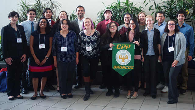 Group photo of students and faculty at the 2019 CSU Research Competition at Cal State Fullerton.