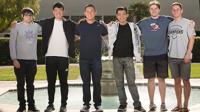 Members of the 2019 Cal Poly Pomona Heroes of the Storm team headed towards the ESPN Championship (L-R): Henry Richardson Alexander Huang, Sam Lee, Le Quoc, Hunter Gaukel and Andrew Koscal.