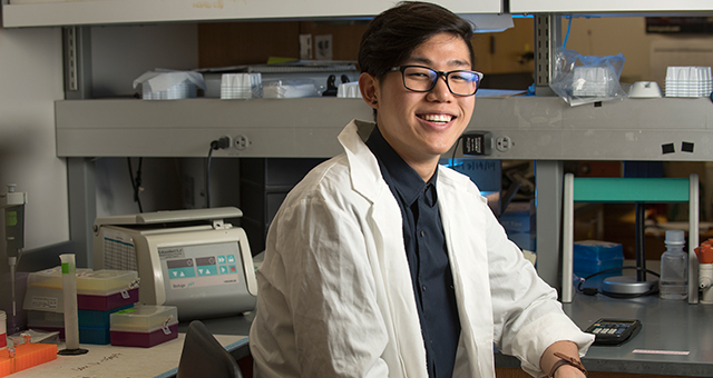 Eric Lee is a biotechnology major who did research on the effects of garlic on the immune system at a Cal Poly Pomona lab.