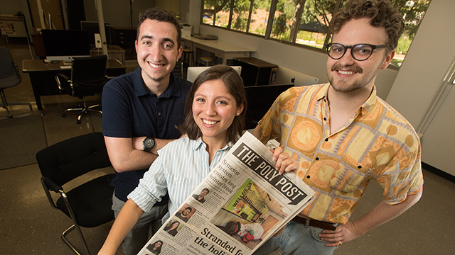From left to right, David Wilson, Victoria Gonzalez, and Brian Sease are editors at The Poly Post.