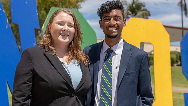 Pasindu Senaratne and Rachel Hunter, the 2019-20 ASI president-elect and vice president-elect.