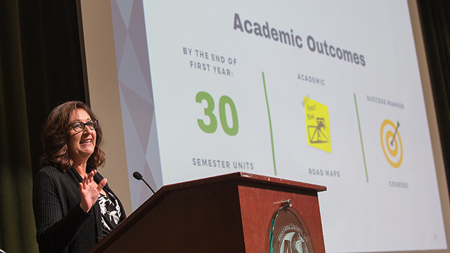 S. Terri Gomez speaks during a campus conversation on Student Success in the Bronco Student Center.