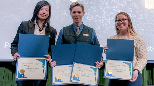 First place was awarded to AZUZA Beverage, an interdisciplinary team with members from the CBA, Huntley College of Agriculture at Cal Poly Pomona and Cal Poly Pomona College of Science.