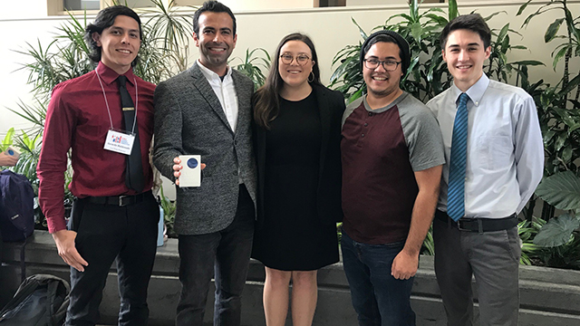 From left to right: Students presenters Gerardo A. Maldonado, Minna Mattis, Stuart W. Geyer and Garrison Kanazawa with Mechanical Engineering Assistant Professor Reza B. Lakeh (second from left) holding the first place award at the 33rd Annual California State University Student Research Competition. Students team members not pictured: Alexander R. Salinas, Brandon S. Paulsen, Edgardo G. Rivera Cuevas, Jonathan Hai, Katie S. Sun and Mark A. Mancilla.