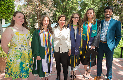 California Lt. Gov. Eleni Kounalakis with graduates during the CLASS commencement ceremony.
