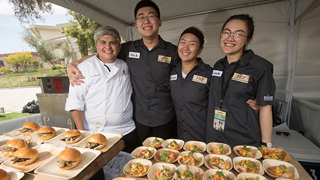 Students from The Collins College of Hospitality Management during Cal Poly Pomona's Tasting & Auction.