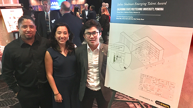Architecture Class of 2019 graduates Matthew Rivera, Mariana Uy and Parady Sarun who won the Julius Shulman Emerging Talent Award. Photo credit is George Proctor.