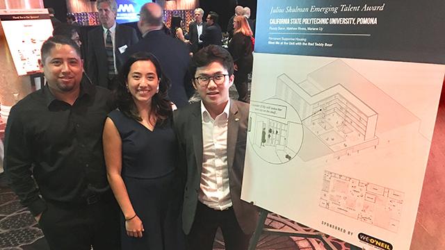 Architecture Class of 2019 graduates Matthew Rivera, Mariana Uy and Parady Sarun who won the Julius Shulman Emerging Talent Award. Photo credit is George Proctor.