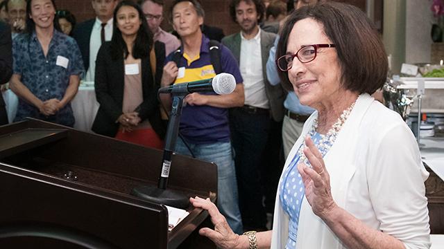 Professor Emerita Jill Adler-Moore at the Cal State LA BioStart ceremony.