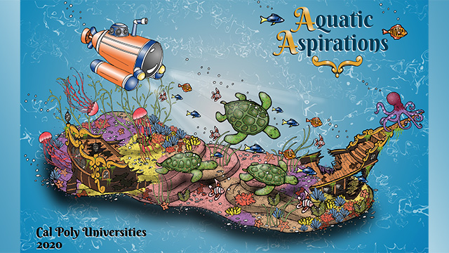 "The Cal Poly Universities 2020 float, ""Aquatic Aspirations."""
