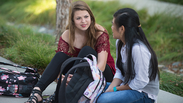 Students chat during the first day of the 2019 Fall Semester.