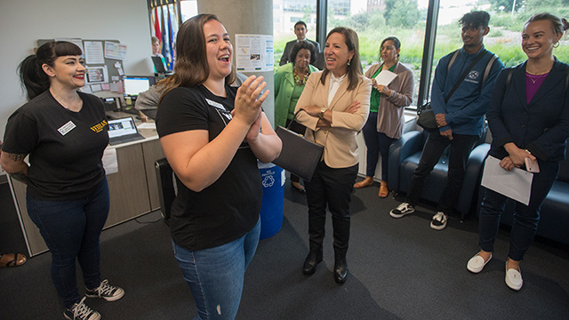 Lt. Gov. Eleni Kounalakis talks to students at the Veterans Resource Center during an Aug. 23 visit to campus.