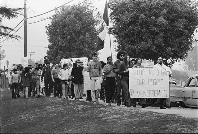 The Chicano Moratorium was a movement brought together Chicano anti-war activists to oppose the Vietnam War. Photo courtesy of UCLA Library Digital Collections.