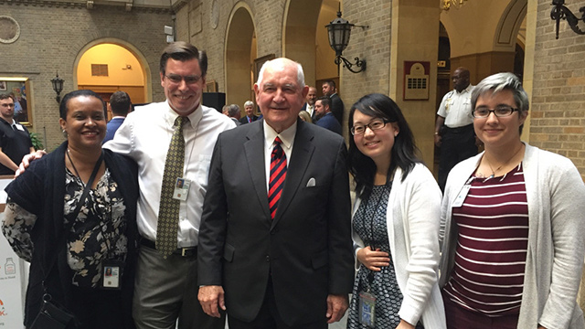 Agriculture students Coral Story and Amber Yoder with the Secretary of Agriculture, Sonny Perdue.