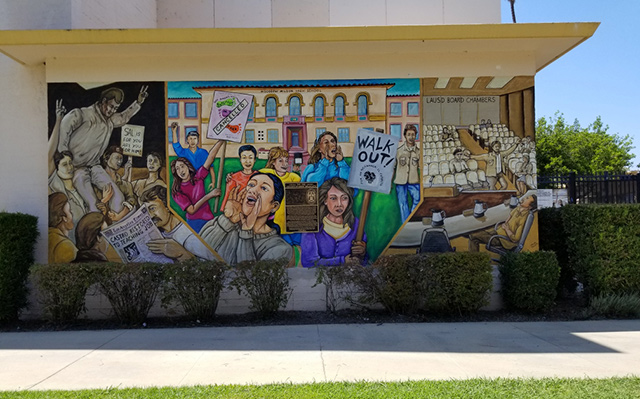 The East LA Blowout were a series of protests led by Chicano students. It outlined the unjust treatment of their education. Pictured above is the mural El Sereno Middle School painted to commemorate the walkouts. Photo courtesy of El Sereno Middle School.