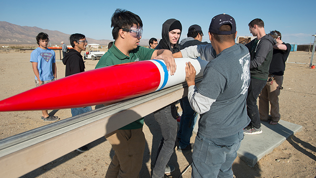 Rocketry team setting up a Patriot missile rocket