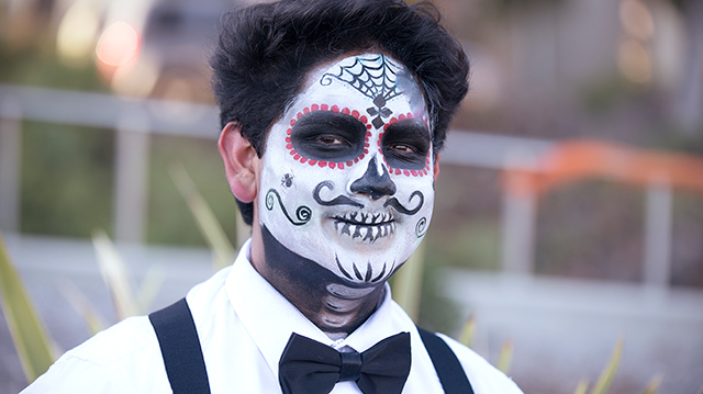 Student with Calaca face paint.