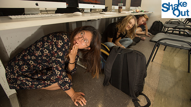 Students under desks