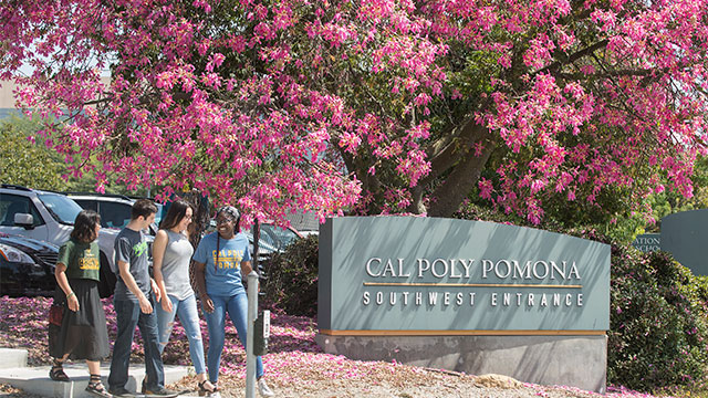 Group of students walking in southwest entrance of Cal Poly Pomona