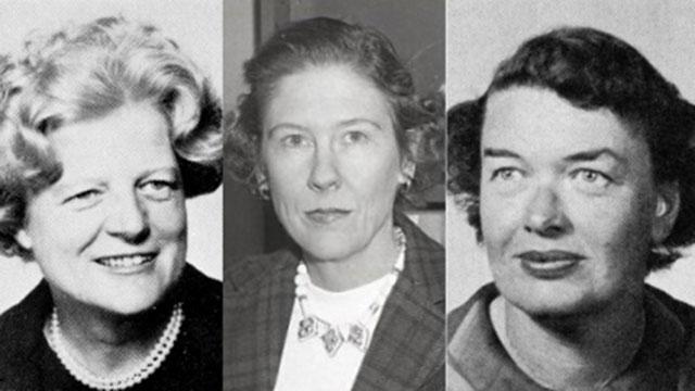 Collage of photos of: Gertrude Boland, Virginia Hamilton Adair, Dorothy McNeil Tucker