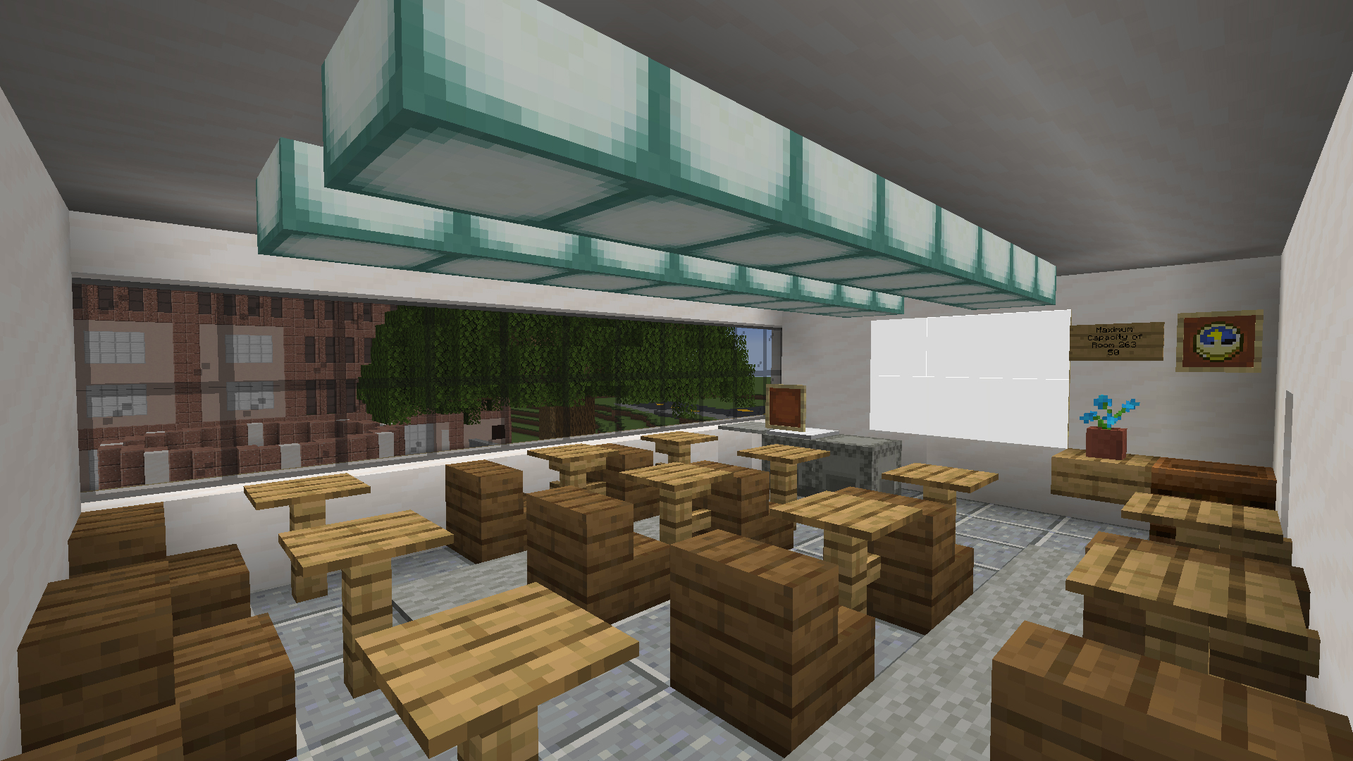 The interior of Building 9 re-imagined in Minecraft.