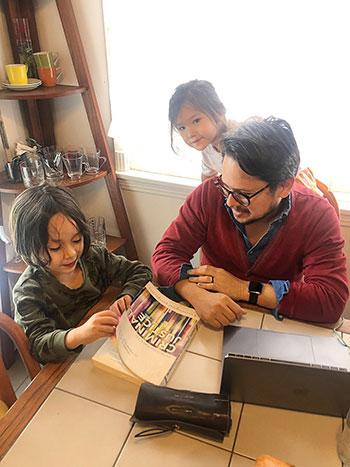 Hanink's two children, Felix, 5, and Maya, 2