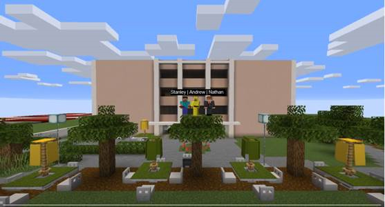 Building 9 re-imagined in Minecraft.