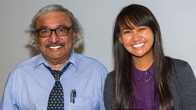 Engineering Professor Rajan Chandra and a student smiling