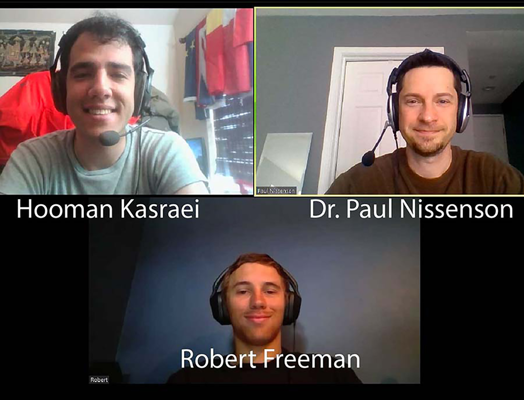 Pictured: Hooman Kasraei, Dr. Paul Nissenson, and Robert Freeman on a Zoom Call